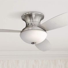 "52"" Encore Possini Euro Brushed Nickel Hugger Ceiling Fan - #99909 | Lamps Plus"