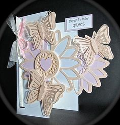 DOUBLE FOLD BACK CARD SIL STUDIO on Craftsuprint designed by Clive Couter - made by Cynthia Massey - Used white, pink and lilac pearlised card, resized and cut an extra butterfly, added my own ribbon and a bow instead of the kit ribbon strip, personalised this for my Niece Grace, she loves butterflies, really quick and easy. - Now available for download!