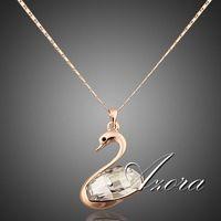 AZORA 18 Karat Reales Gold Überzog Stellux Österreichischen Kristalle Swan Anhänger Halskette TN0010