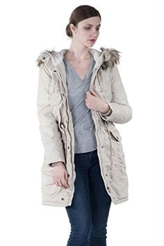 72a13eaa245 INFRON Womens Winter Plussize Adjustable Waist and hooded Quilted Parka Coat      Learn more