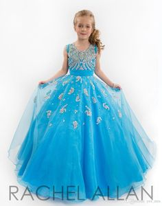 Rachel Allan Girls Pageant Dresses For Teens Illusion Neck Cap Sleeves Beades Blue Floor Length Size 13 Party Children Flower Girl Gowns Online with $83.76/Piece on Yes_mrs's Store | DHgate.com