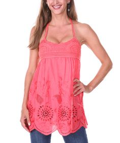 Another great find on #zulily! Coral Floral Crochet Halter Top by Ananda's Collection #zulilyfinds