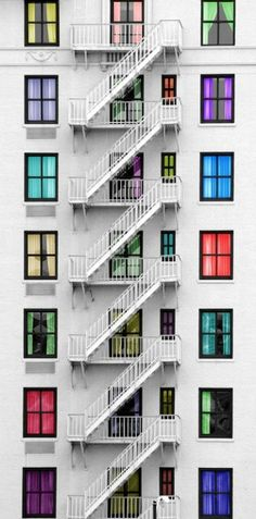 Each story of this building has its own personality through the use of color.