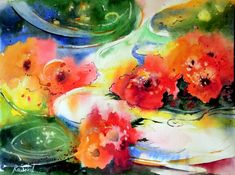 Red flowers - bright watercolor painting sale river fatasy