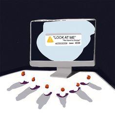 Addiction to social media. Editorial illustration. Digital painting/ Digital Art.
