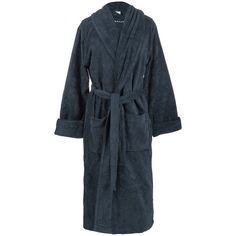 GANT Premium Velour Bathrobe - Sateen Blue (€110) ❤ liked on Polyvore featuring intimates, robes, blue dressing gown, bath robes, blue bathrobe, velour bathrobe and dressing gown