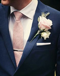 Navy and blush pink for those handsome groomsmen? Smart and timeless  #navy #pink #suit #tie #groom #groomsmen #wedding #weddingattire #weddingday #weddingplanning #weddingstyle #vintage #chic #fashion #men #bridal #bridalparty #flowers #floral