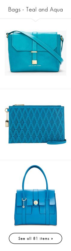 """""""Bags - Teal and Aqua"""" by itscindylou ❤ liked on Polyvore featuring bags, messenger bags, bolsas, accessories, purses, borse, mini messenger bag, courier bags, blue bag and genuine leather messenger bag"""