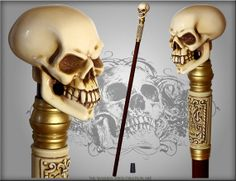 SKULL WALKING STICK gothic authors made Bone effect by GCArtis, $59.00