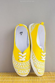 Hand painted Women Canvas Shoes, Yellow Sneakers with white ornament, boho shoes, bohemian lovers: Lemon