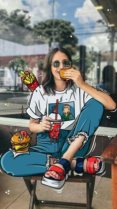 Photo Fashion Illustration with Hamburger . - Fashion Illustration Photo with Hamburger -