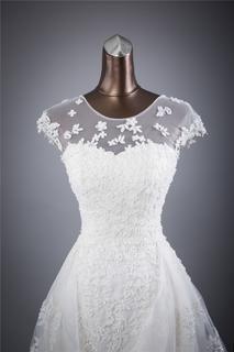 Vintage Flowing Floral Lacet A-Line Wedding Gown