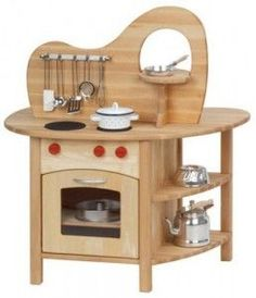 Looking for the best wooden play kitchen set for kids? The Glückskäfer Wooden Play Kitchen with Top is double-sided with a stovetop, oven, sink, and more. Kids Wooden Play Kitchen, Kitchen Sets For Kids, Diy Kitchen, Kitchen Wood, Kitchen Cabinets, Wooden Baby Toys, Wood Toys, Wooden Toys For Kids, Pallet Furniture