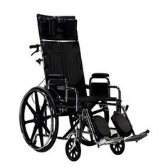 Drive Medical Sentra Reclining Wheelchair.  The Sentra Reclining Wheelchair has a hydraulic reclining mechanism that allows infinite adjustments up to 180 degrees.  This deluxe wheelchair comes standard with swing away elevating legrests, triple chrome coated carbon steel frame, headrest extension with a cushioned head immobilizer and detachable desk arms.