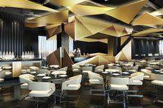Otkritie Arena, FC Spartak, Moscow | VIP restaurant design | gold | ceiling detail | Dexter Moren Associates