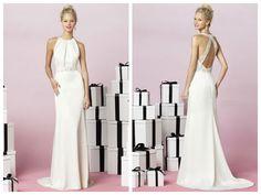 Sheath/Column Halter Chapel Train Chiffon Floor-length Wedding Dresses