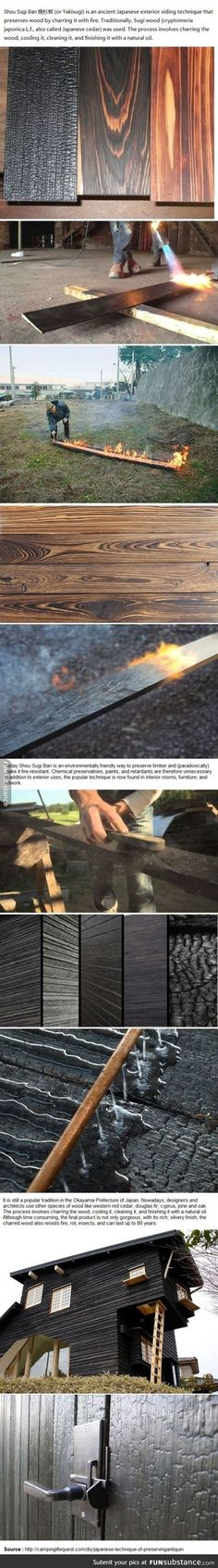 Japanese technique of preserving/antiquing wood