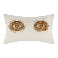 Jonathan Adler - Muse Beaded Eyes Pillow American Modern Linen, Down, Feathers, Glass