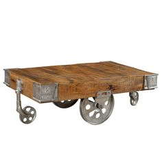 Industrial Rustic Storage Factory Cart Coffee Accent Cocktail Wood