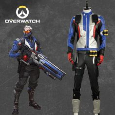Overwatch Soldier 76 Jacket Cosplay Costume Coat Outfit Gloves Custom Size