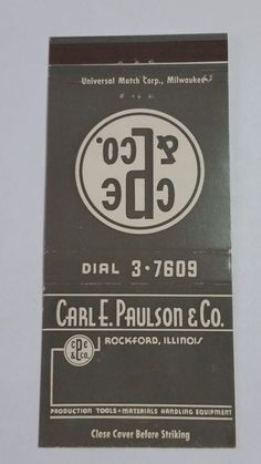 CARL E. PAULSON & CO. ROCKFORD ILLINOIS THE ARISTOCRAT #MatchBook Cover To order your business' own branded #matchbooks or #matchoxes GoTo: www.GetMatches.com or CALL 800.605.7331 to Get The Process Started Today!