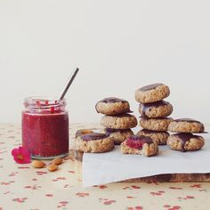 new blog post  raw raspberry & chocolate thumbprint cookies! (you need them)