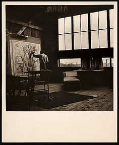 Citation: Jack Levine working in his faculty studio, 1952 / unidentified photographer. Skowhegan School of Painting and Sculpture records, Archives of American Art, Smithsonian Institution.