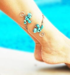 Mystic Turquoise Anklet, Adjustable anklet bracelet, Arm Cuff Copper Bracelet, Upper arm band, Wire Wrapped anklet, summer jewelry