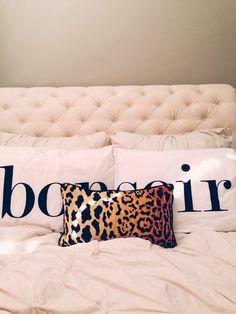 urban outfitters bonsoir pillows, arianna belle leopard pillow, tufted headboard: