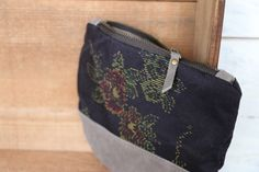 """This beautiful Large size Kimono × Leather Wallet is made of """" Beautiful Camellia motif """" Vintage Japanese woven """" Kasuri """" Kimono fabric ( 100% Silk ) and Beautiful Gray Suede leather."""