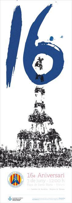 16è aniversari Capgrossos de Mataró. Fet amb les empremptes dels castellers! Disseny: Grambarcelona
