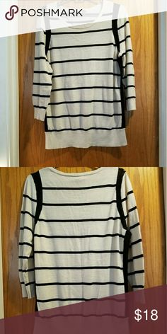 Cream and Black Loft Sweater Great condition and worn a couple of times. LOFT Sweaters Crew & Scoop Necks
