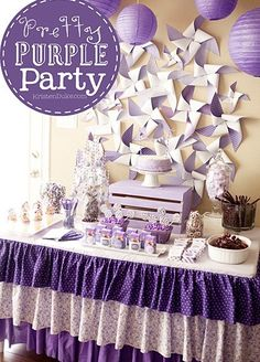 Pretty Purple Party Girl Birthday Themes, Little Girl Birthday, Birthday Fun, First Birthday Parties, Purple Birthday Decorations, Birthday Ideas, Barney Birthday, Diy Party, Party Gifts