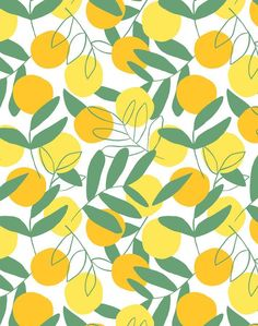 'Citrus' Wallpaper by Tea Collection - Yellow - Removable Panel - Sample