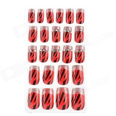 J-1010 Shiny Crystal 3D Leopard Pattern Decorative Nail Tip w/ Glue - Red + Black + Silver (24 PCS)