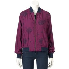Women's SONOMA Goods for Life™ Bomber Jacket ($24) ❤ liked on Polyvore featuring outerwear, jackets, multicolor, zip front jacket, purple jacket, multi-color leather jackets, bomber style jacket and pocket jacket