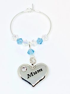 Silver plated heart charm engraved with Mum set with Aquamarine and Clear Swarovski Crystals make this gorgeous wine glass charm Aquamarine is the birthstone colour for March. Swarovski Gifts, Swarovski Crystals, Wine Glass Charms, Personalised Gifts, Aqua Marine, Organza Bags, Heart Charm, Birthstones, Silver Plate