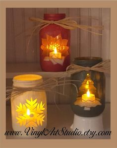 Chalk Painted Quart Jar Candle Holder Centerpiece...........Holiday, Rustic, Vase, Christmas Tree Winter Poinsettia Snowflake