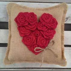 10 x 10 Natural Burlap Ring Bearer Pillow w/ Red Rosette Heart by theartsyhippie #burlap #wedding #pillow
