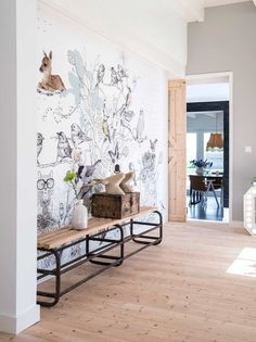 Nordic design hallway with feature wall