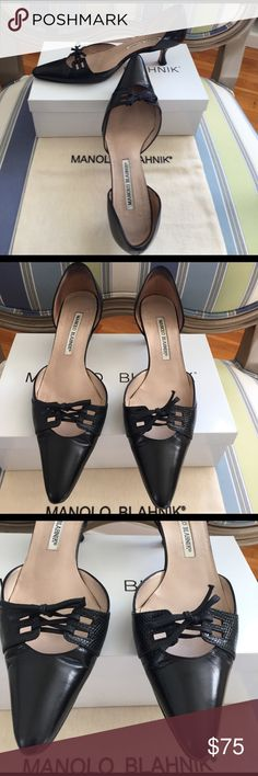 "🆕 Manolo Blahnik ""Narado"" black d'Orsay pump These Manolo Blahnik ""Narado"" d'Orsay pumps are well loved but still have a lot of life! The vamp is set off by a laced, black lizard ""saddle"" and the leather covered heel is a versatile 2"" (50 mm). Leather exterior, heels, soles and toes are in VGUC. The insides show wear but are clean and the leather is intact. Size 37.5, generally TTS. Will include shoe box and bag. Manolo Blahnik Shoes Heels"