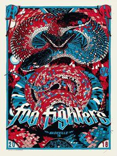 Foo Fighters Concert Poster - Bridgestone Arena, Nashville, TN, United States - May 2018 Rock Posters, Band Posters, Concert Posters, Foo Fighters Poster, Music Artwork, Illustration, Geek Art, Punk, Vintage Posters