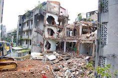 semi demolished building