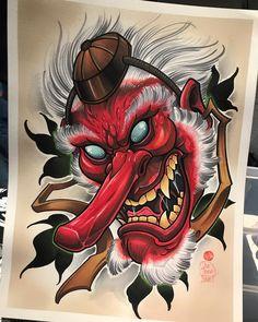 Sent this rad tengu off to a good home with - thanks man! Japanese Drawings, Japanese Artwork, Japanese Tattoo Art, Japanese Tattoo Designs, Japanese Sleeve Tattoos, Tengu Tattoo, Hanya Tattoo, Irezumi Tattoos, Samurai Tattoo