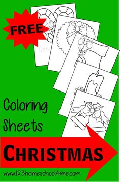 FREE Christmas Coloring Pages - Toddlers, Preschoolers, and Kindergarten age kids will love coloring these traditional Christmas pictures of candy canes, wreaths, stockings, bells, and more.