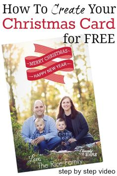 How to Create Your Christmas Card for Free (Step By Step Video Using Picmonkey) - Cleverly Simple Create Christmas Cards, Personalised Christmas Cards, Christmas Photos, Christmas And New Year, All Things Christmas, Holiday Fun, Christmas Holidays, Christmas Crafts, Christmas Ideas