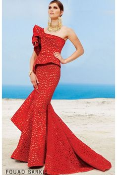 Fouad Sarkis Couture Red One Shoulder Structured Mermaid Gown | Poshare