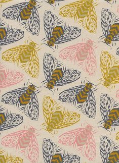 Fabric Patterns Magic Forest - Bees Yellow - Sarah Watts - Cotton and Steel Fabrics - Fabric by the Half Yard - Textile Patterns, Textile Design, Print Patterns, Surface Pattern Design, Pattern Art, Tableaux D'inspiration, 4 Wallpaper, Magic Forest, Dark Forest