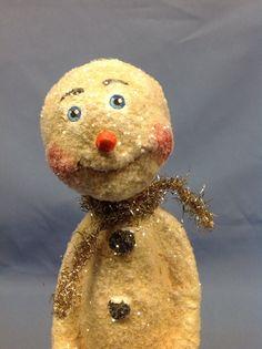 Paper mâché snowman winter holiday figure by monniewilsonsstudio, $38.00
