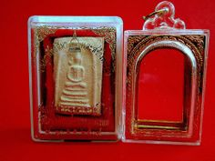 Thai Amulet Phra Somdej Mai BangKhunPhrom Buddha Blessed+Cased+Temple Box Charm